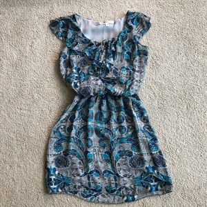 Max Studio blue and grey ruffle dress